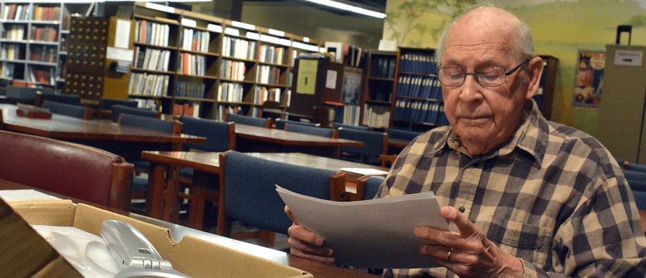 A man researching his genealogy