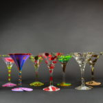 Set of Painted Martini Glasses